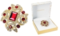 Charter Club Gold-Tone Crystal Rectangle Siam Boxed Pin, Created For Macy's