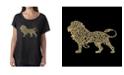 LA Pop Art Women's Dolman Cut Word Art Shirt - Lion