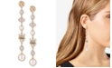 GUESS Gold-Tone Crystal & Imitation Pearl Linear Drop Earrings