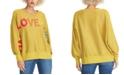 RACHEL Rachel Roy Metallic Love Graphic Sweater