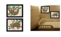 "Trendy Decor 4U Cute Sloths 2-Piece Vignette by Bernadette Deming, Black Frame, 18"" x 14"""