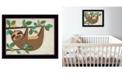 "Trendy Decor 4U Trendy Decor 4U Hanging Sloth I by Bernadette Deming, Ready to hang Framed Print, Black Frame, 18"" x 14"""