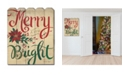 """Trendy Decor 4U Merry Bright by Cindy Jacobs, Printed Wall Art on a Wood Picket Fence, 16"""" x 20"""""""