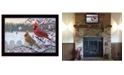 "Trendy Decor 4U Cardinals by Kim Norlien, Ready to hang Framed Print, Black Frame, 20"" x 14"""