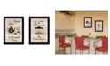 "Trendy Decor 4U Enjoy Tea Time 2-Piece Vignette by Millwork Engineering, Black Frame, 14"" x 10"""