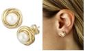 Macy's Love Knot Pearl (5 mm) Stud Earrings Set in 14k Yellow Gold