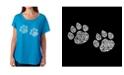 LA Pop Art Women's Dolman Cut Word Art Shirt - Meow Cat Prints