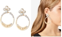 GUESS Gold-Tone Crystal & Logo Front-Facing Medium Hoop Earrings, 2""