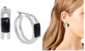 "Robert Lee Morris Soho Silver-Tone Stone Geometric Medium Hoop Earrings, 1.1"""