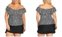 Island Escape Trendy Plus Size Off-the-Shoulder Tankini Top & Bottoms, Created For Macy's