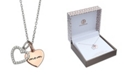 """Giani Bernini Cubic Zirconia Mom Heart Pendant 18"""" Necklace in Sterling Silver and 18k Rose Gold Over Sterling Silver"""