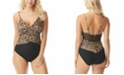Coco Reef Contours Color-blocked Leopard Print Underwire Tummy Control One-Piece Swimsuit