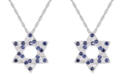 """Macy's Lab-Created Blue Sapphire (3/8 ct. t.w.) & White Sapphire (1/3 ct. t.w.) Star of David 18"""" Pendant Necklace in Sterling Silver"""