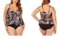 Raisins Curve Trendy Plus Size Juniors' Wild Romance Printed Atlantic Tankini Top & Bottoms