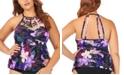 Raisins Curve Trendy Plus Size Juniors' Lagide Printed Boa High Neck Tankini Top