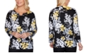 Alfred Dunner Petite Riverside Drive Floral-Print Sweater