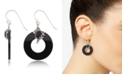Macy's Marcasite and Onyx Disc and Faceted Onyx Wire Earrings in Sterling Silver