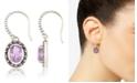 Macy's Marcasite and Amethyst (2-3/4 ct. t.w.) Oval Drop Wire Earrings in Sterling Silver