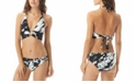 Carmen Marc Valvo Splash Printed O-Ring Halter Bikini Top & Hipster Bottoms