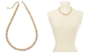 "Charter Club Gold-Tone Pavé-Fireball & Bead Collar Necklace, 17"" + 2"" extender, Created For Macy's"