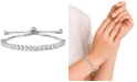 Macy's Cubic Zirconia Round Bezel set Adjustable Slider Bolo Bracelet in Fine Silver Plate