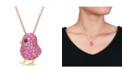 Macy's Created Blue and Pink Sapphire (2 3/8 ct. t.w.) Chick Bird Necklace in 18k Two-Tone Over Sterling Silver