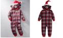 Max & Olivia Big Boys 1-Pc. Hooded Plaid Bear Pajamas, Created For Macy's