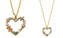 Macy's Multi Color Floral Heart Pendant Necklace in Fine Silver Plate