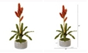 Nearly Natural 24in. Tropical Bromeliad Artificial Plant in Bowl with Gold Trimming