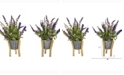 Nearly Natural 16in. Lavender Artificial Plant in Tin Planter with Legs Set of 2