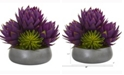 Nearly Natural 18in. Musella and Succulent Artificial Arrangement in Gray Garden Vase
