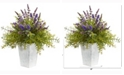 Nearly Natural 19in. Lavender and Rosemary Artificial Arrangement in Embossed White Planter