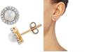 Macy's Cultured Freshwater Pearl (4mm) & Diamond (1/10 ct. t.w.) Halo Stud Earrings in 10k Gold