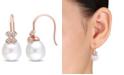 Macy's South Sea Cultured Pearl (11.5-12mm) and Diamond (1/8 ct. t.w.) Diamond Petal Earrings in 14k Rose Gold