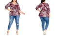 City Chic Trendy Plus Size Winter Lily-Print Shirred Top