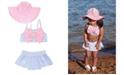 RuffleButts Baby Girls Skirted Bikini Swimsuit with Bow Swim Hat Set, 2 Piece