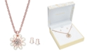 Charter Club Rose Gold-Tone Imitation Pearl & Crystal Pendant Necklace and Stud Earrings, Created for Macy's