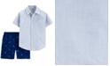 Carter's Toddler Boys 2-Pc. Cotton Striped Shirt & Flamingo-Print Shorts Set