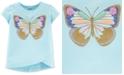 Carter's Toddler Girls Blue Glitter Butterfly Tulip T-Shirt