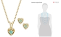 Macy's Children's 18k Gold over Sterling Silver Necklace and Earrings Set, May Birthstone Emerald Heart Pendant and Stud Earrings Set (1/4 ct. t.w.)