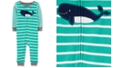 Carter's Baby Boys Whale Striped Footless Cotton Pajamas