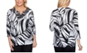 Alfred Dunner Petite Checkmate Tropical Leaves-Print Top