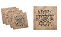 "Ambesonne Live Laugh Love Set of 4 Napkins, 12"" x 12"""