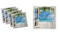 "Ambesonne Wooden Windows Set of 4 Napkins, 12"" x 12"""