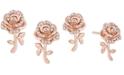 Macy's Enchanted Disney Diamond Rose Bell Stud Earrings (1/10 ct. t.w.) in 14k Rose Gold