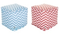 """Majestic Home Goods Chevron Ottoman Pouf Cube with Removable Cover 17"""" x 17"""""""