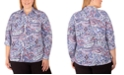 NY Collection Women's Plus Size Allover Print Utility Shirt