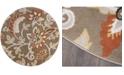 "Global Rug Designs Haven Hav13 Taupe 5'2"" x 5'2"" Round Rug"