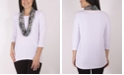 NY Collection Women's Plus Size Top with Scarf
