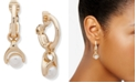 Anne Klein Gold-Tone Imitation Pearl Charm Clip-On Hoop Earrings